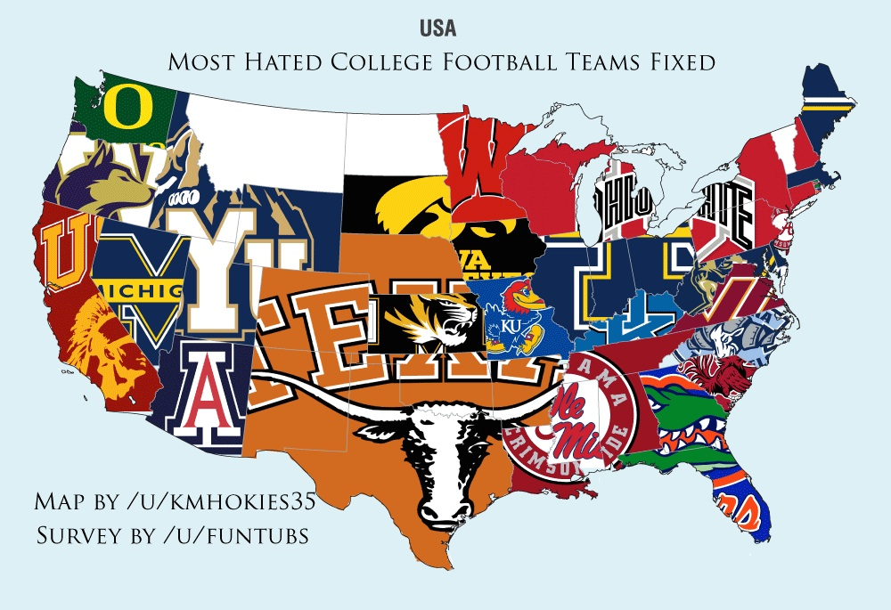 Most Hated College Footballs Teams