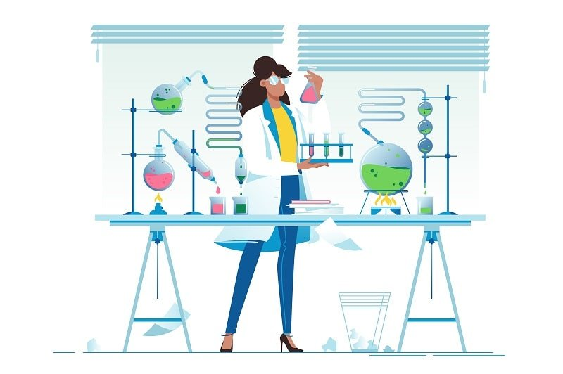 An illustration of a chemist in a lab